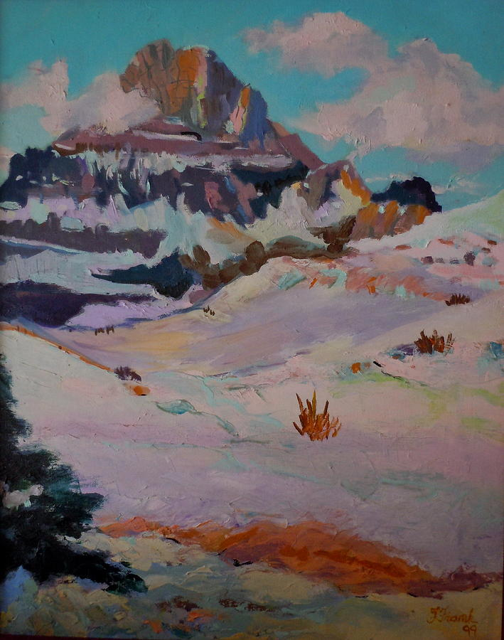 Mountains Painting - At The Top - Glacier National Park by Francine Frank