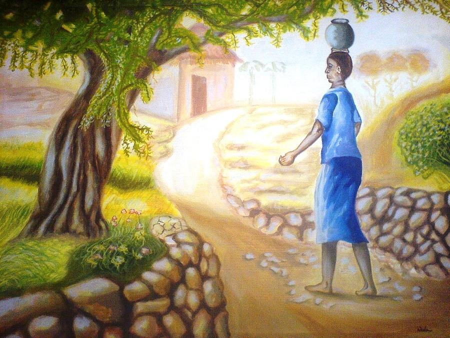 At The Village Side Painting by Wedam Abassey