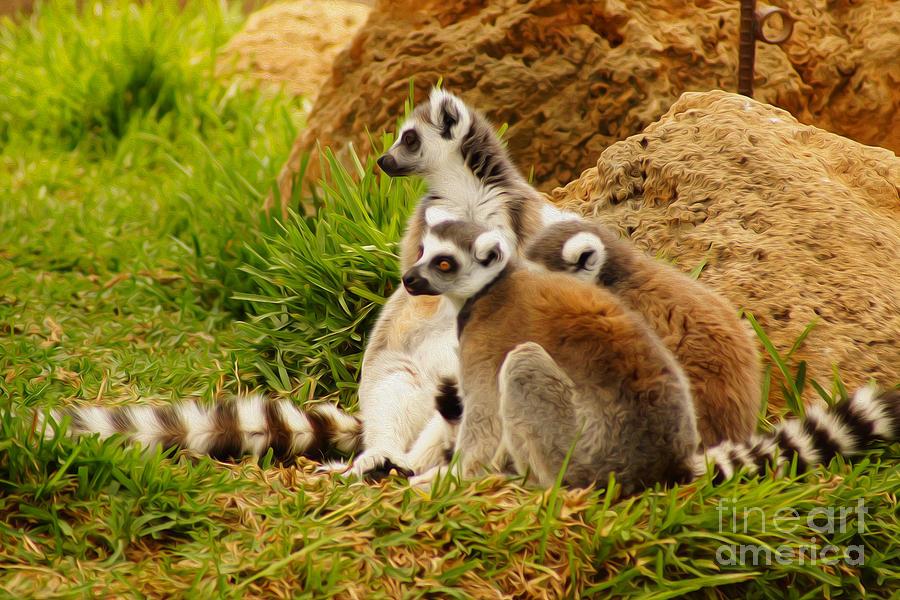 Animal Digital Art - At The Zoo by Nur Roy