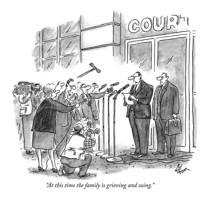 At This Time The Family Is Grieving And Suing Drawing by Frank Cotham