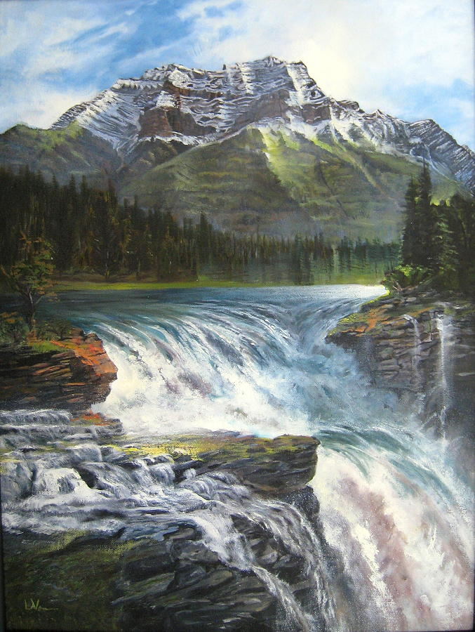 Water Falls Painting - Athabasca Falls by LaVonne Hand