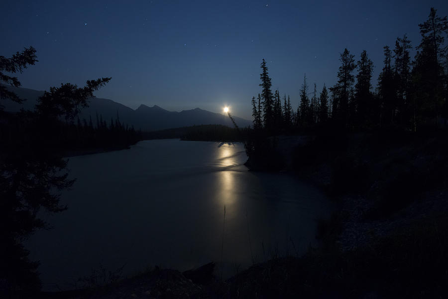 Moon Photograph - Athabasca River Moonrise by Cale Best