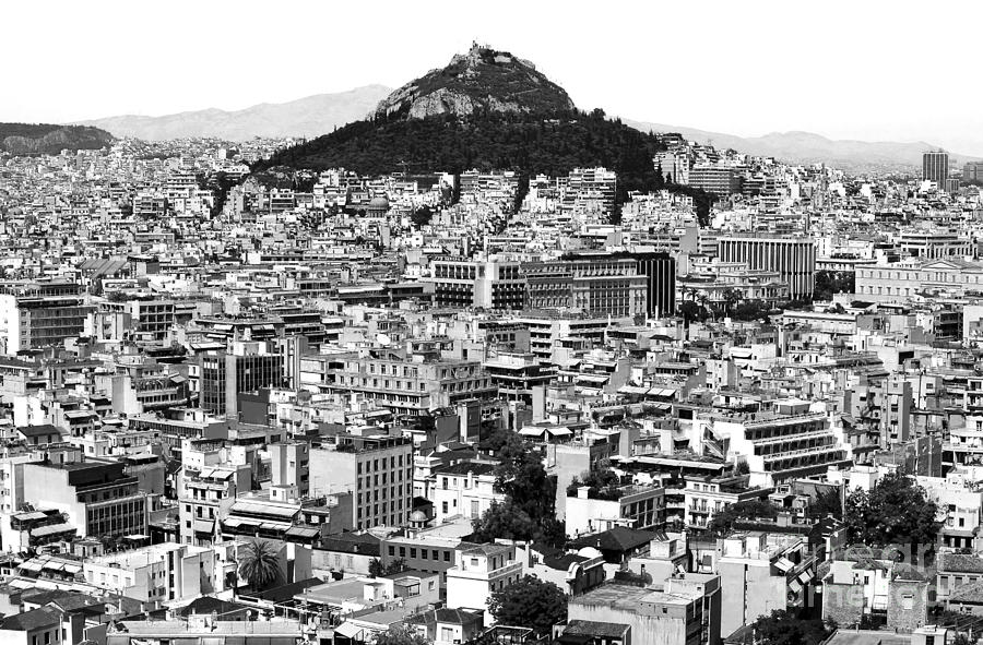 Mountain Photograph - Athens City View In Black And White by John Rizzuto