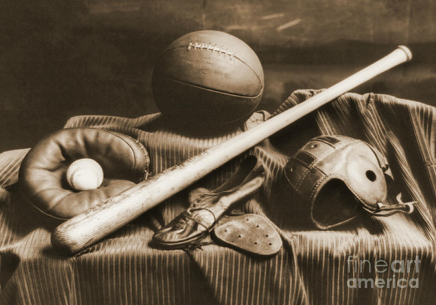 Baseballs Photograph - Athletic Equipment 1940 by Padre Art