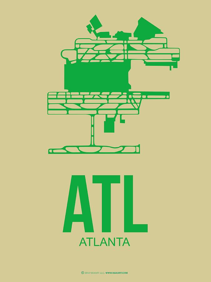 Atlanta Digital Art - Atl Atlanta Airport Poster 1 by Naxart Studio