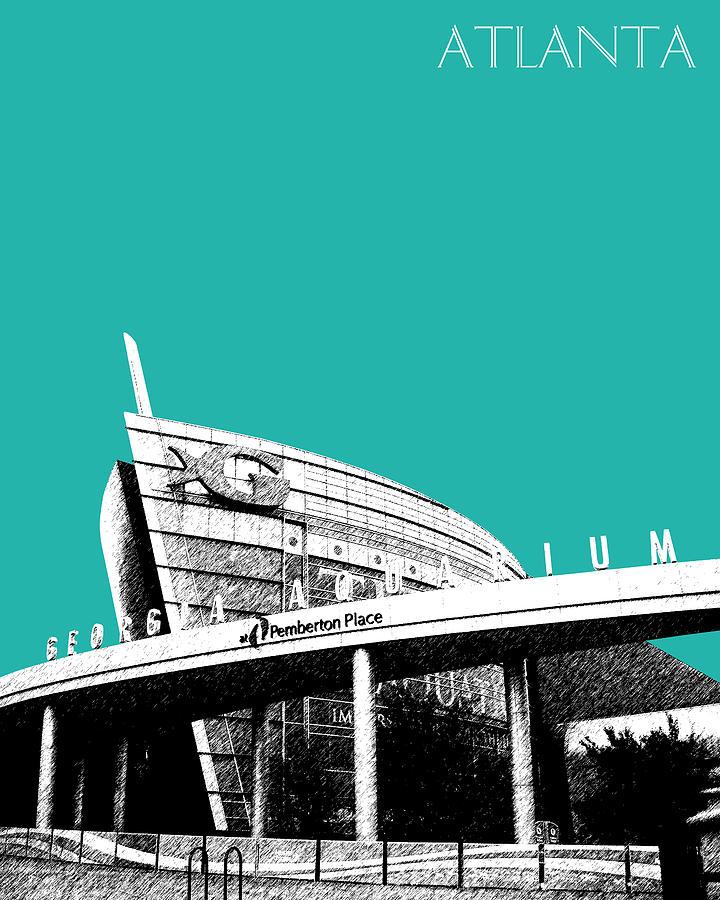 Architecture Digital Art - Atlanta Georgia Aquarium - Teal Green by DB Artist