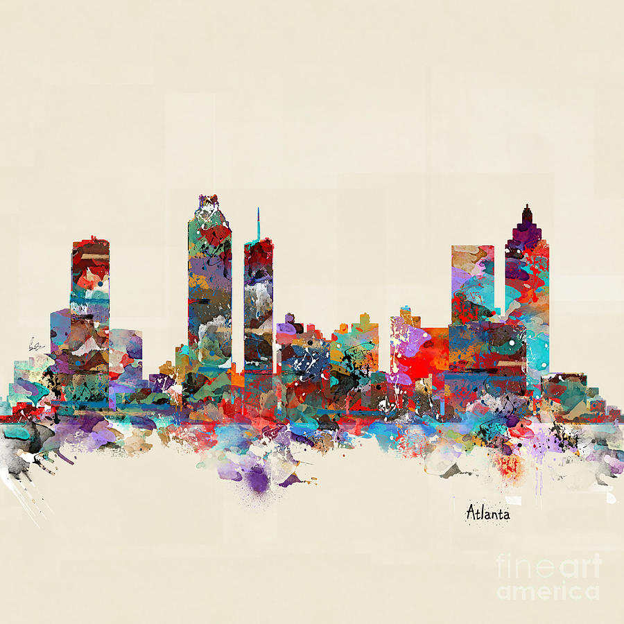 Atlanta Georgia Painting - Atlanta Georgia Skyline Square by Bri Buckley