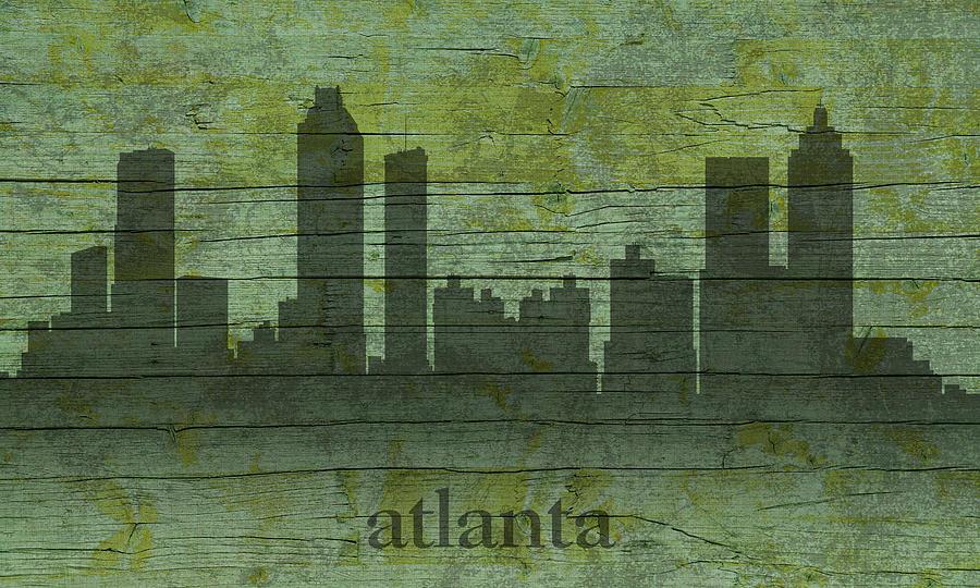 Atlanta Mixed Media - Atlanta Georgia Skyline Silhouette Distressed On Worn Peeling Wood by Design Turnpike