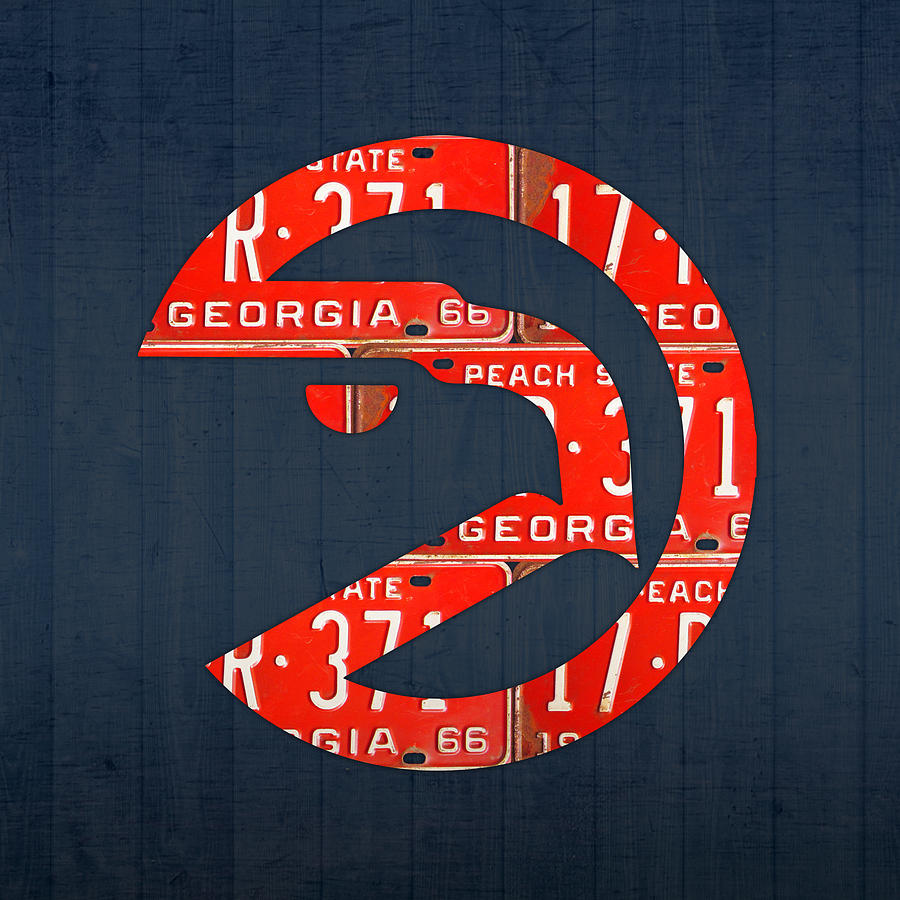 Atlanta Mixed Media - Atlanta Hawks Basketball Team Retro Logo Vintage Recycled Georgia License Plate Art by Design Turnpike