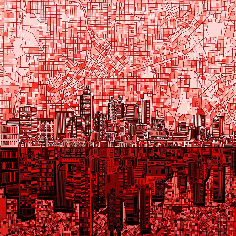 Atlanta Painting - Atlanta Skyline Abstract 4 by Bekim M