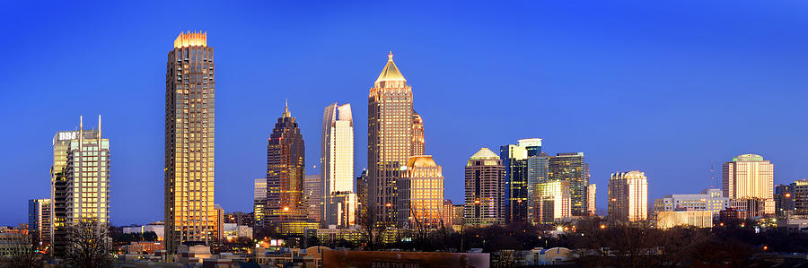 Atlanta Skyline At Dusk Midtown Color Panorama Photograph ...