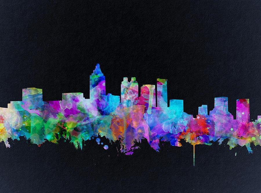 Atlanta skyline watercolor 2 painting by bekim art for Atlanta mural artist