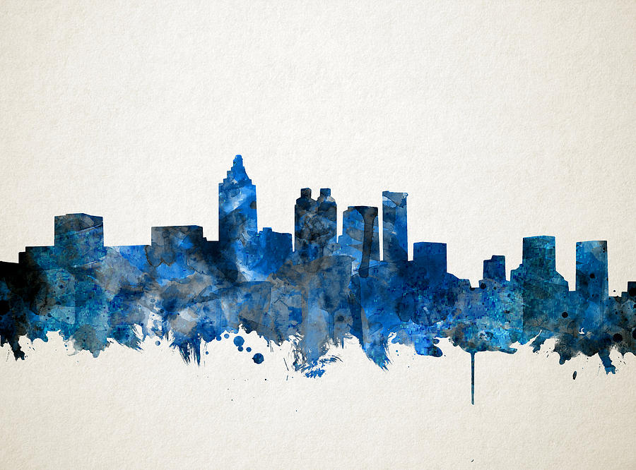 Atlanta skyline watercolor blue painting by bekim art for Atlanta oil painting artists
