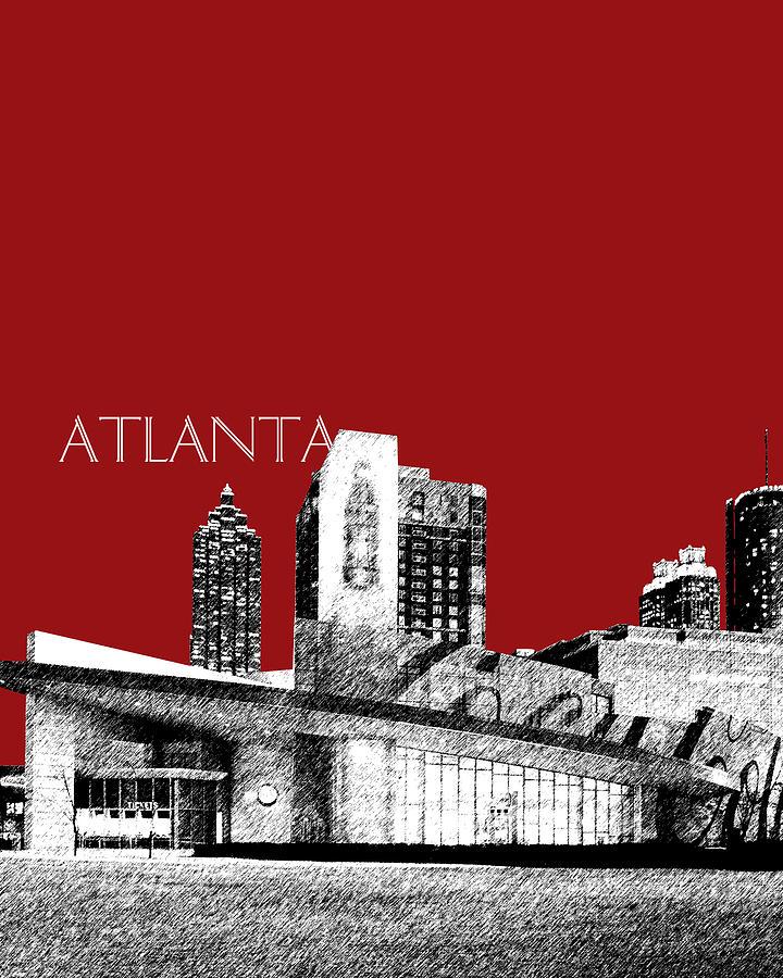 Architecture Digital Art - Atlanta World Of Coke Museum - Dark Red by DB Artist