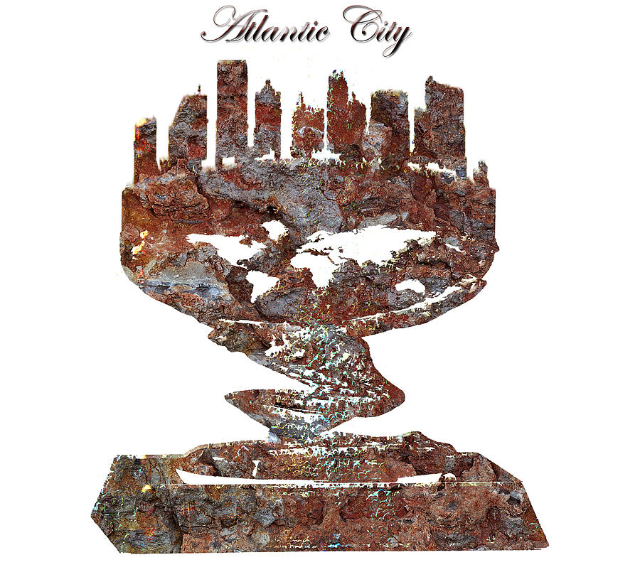 Atlantic City Digital Art - Atlantic City Rusty Skyline by Brian Reaves