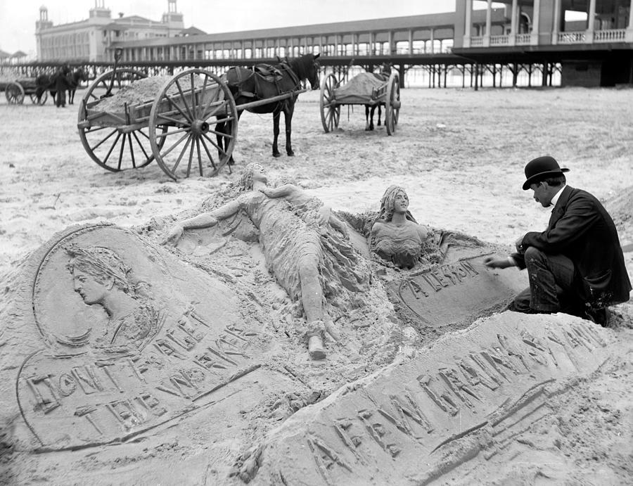 1890 Photograph - Atlantic City The Sandman by Granger