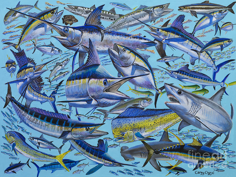 Marlin Painting - Atlantic Gamefish Off008 by Carey Chen
