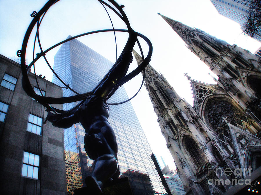Atlas Statue And St.patricks Cathedral In Color Photograph