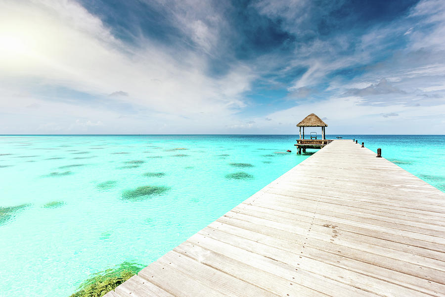 Atoll Jetty Turquoise Waters Polynesia Photograph by Mlenny