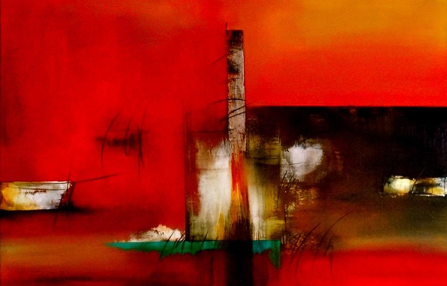 Abstract Painting - Atracando by Thelma Zambrano