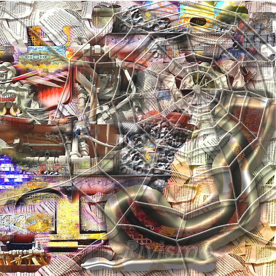 Ramon Rivas Painting - Atrapamiento Experiencial by Ramon Rivas - Rivismo