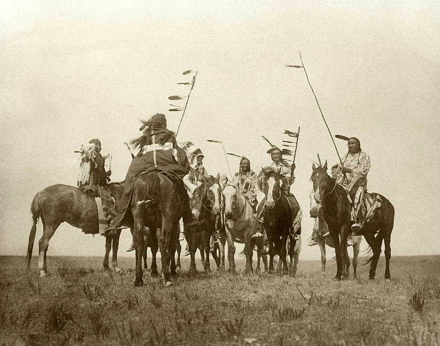 1900s Photograph - Atsina Warriors On Horseback by Underwood Archives