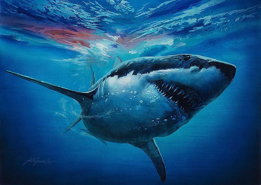 Shark Painting - Attack by Nilton Ramalho
