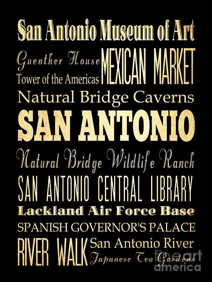 San Antonio Texas Digital Art - Attractions And Famous Places Of San Antonio Texas by Joy House Studio
