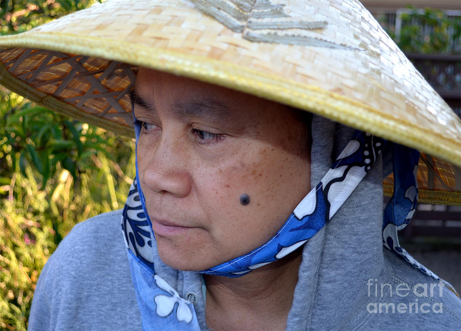 Conical Hat Photograph - Attractive Filipina Woman With A Mole On Her Cheek And Wearing A Conical Hat by Jim Fitzpatrick