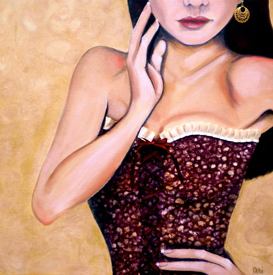 Woman Painting - Aubergine Lace by Debi Starr