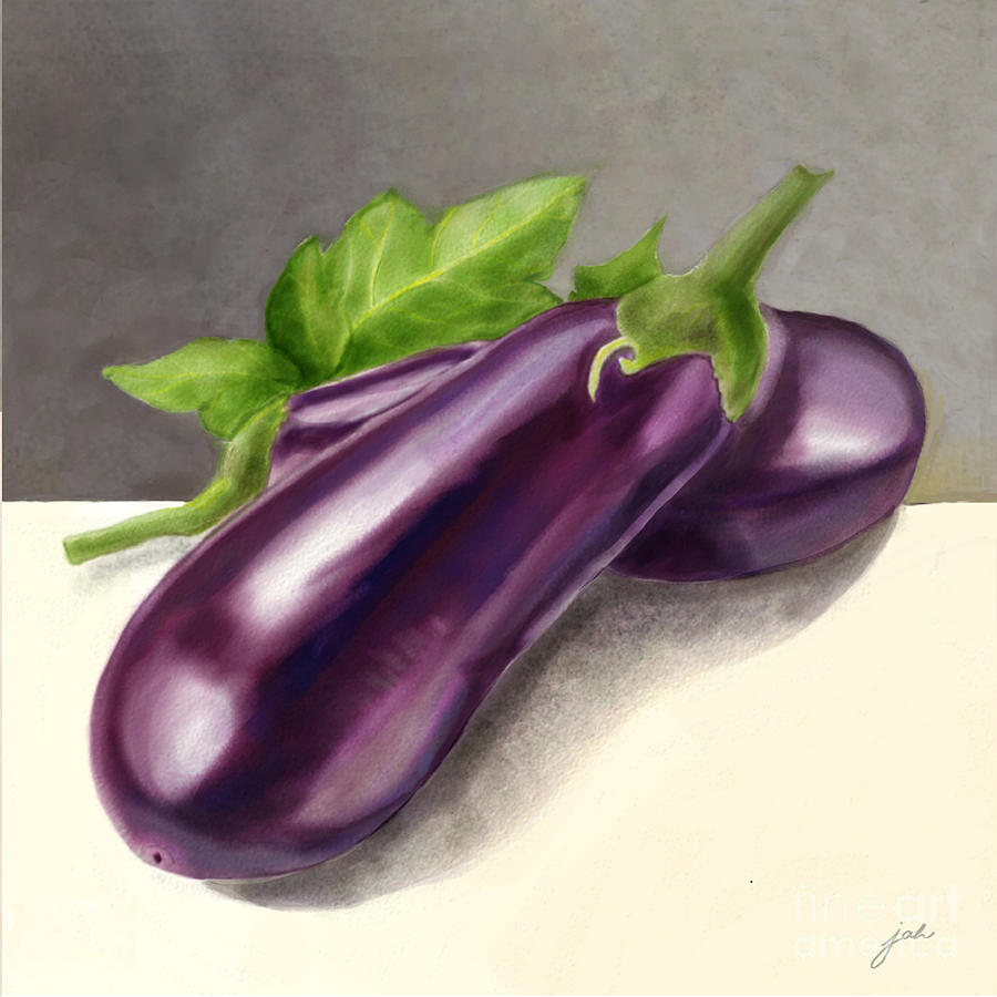 Purple Painting - Aubergines Veggie by Joan A Hamilton