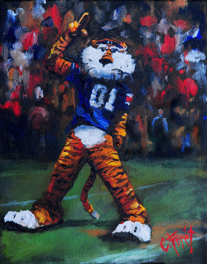 Aubie Painting - Aubie Doing His Thing by Carole Foret