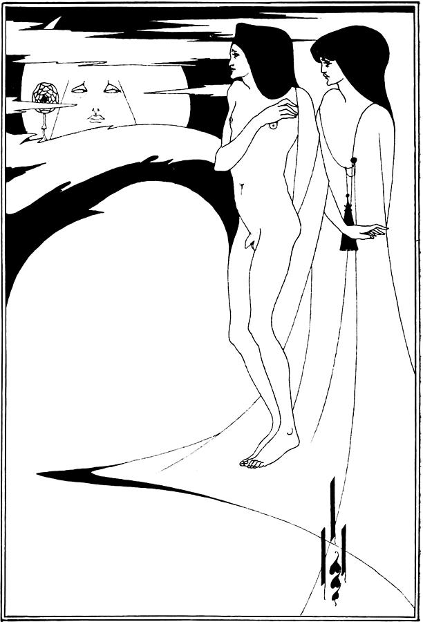 Aubrey Beardsley Drawing - Aubrey Beardsley Woman In The Moon by