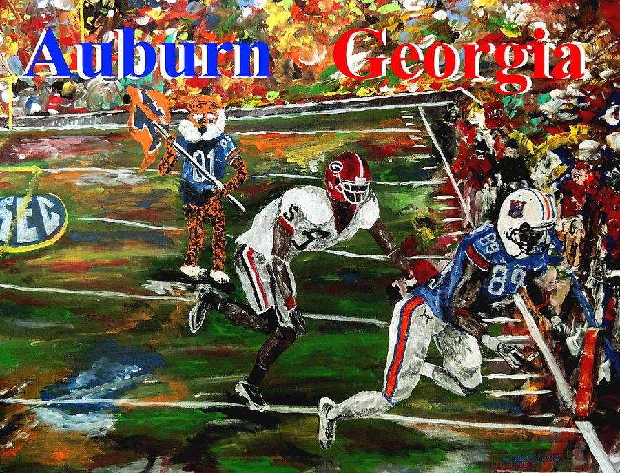 Auburn Georgia Football Painting - Auburn Georgia Football  by Mark Moore