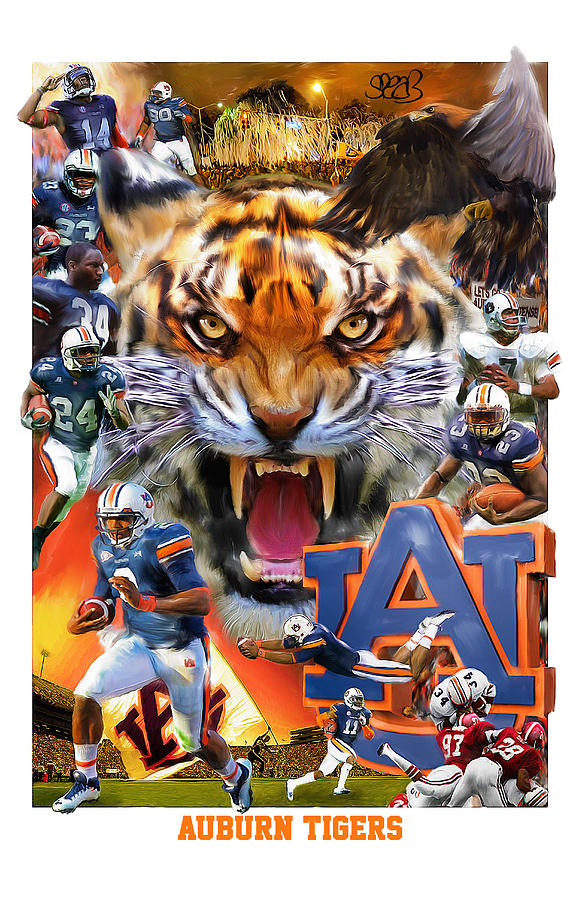 Auburn Mixed Media - Auburn Tigers by Mark Spears