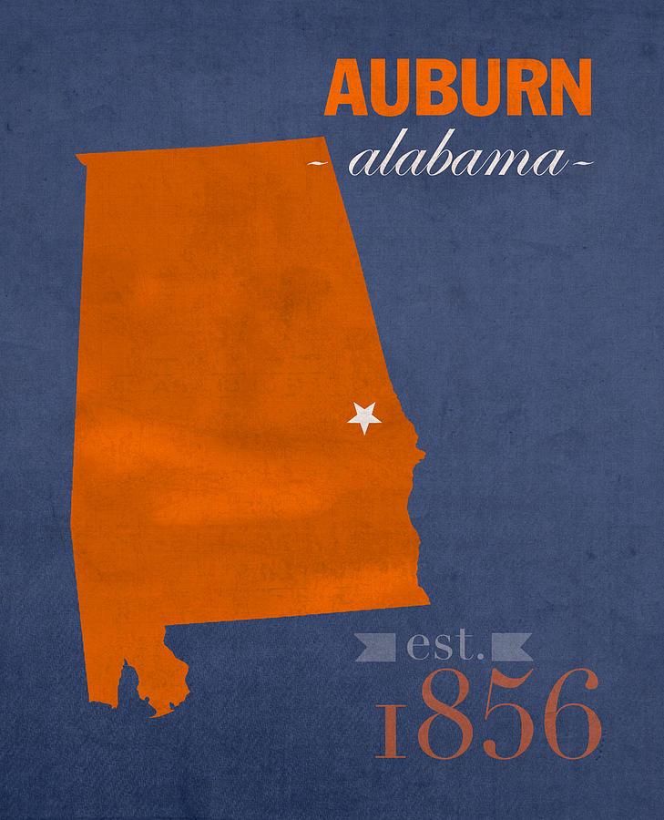 Auburn University Mixed Media - Auburn University Tigers Auburn Alabama College Town State Map Poster Series No 016 by Design Turnpike