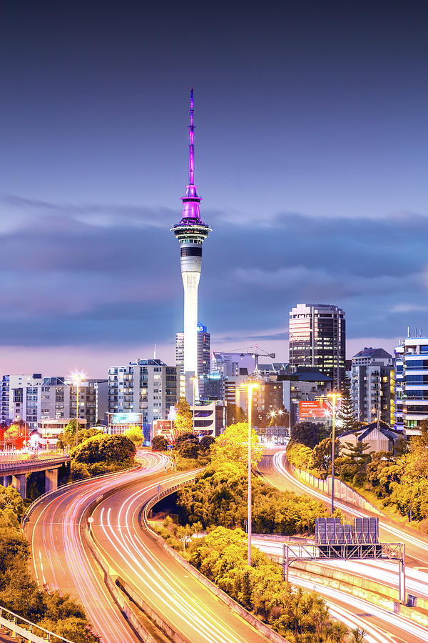 Auckland Cbd At Dusk, New Zealand Photograph by Matteo Colombo