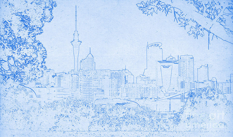 Auckland city blueprint mixed media by celestial images adam asar mixed media auckland city blueprint by celestial images malvernweather