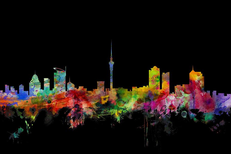 Auckland New Zealand Skyline Digital Art By Michael Tompsett