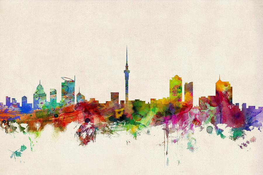 Auckland Skyline New Zealand Digital Art by Michael Tompsett