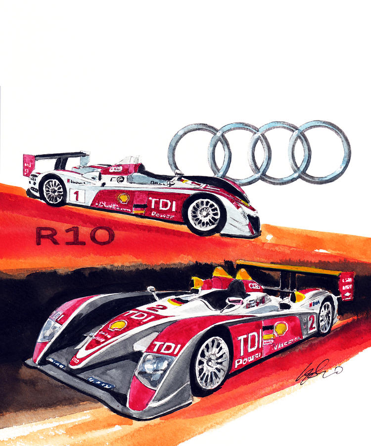 Audi R10 Painting - Audi Le Mans racing car by Yoshiharu Miyakawa