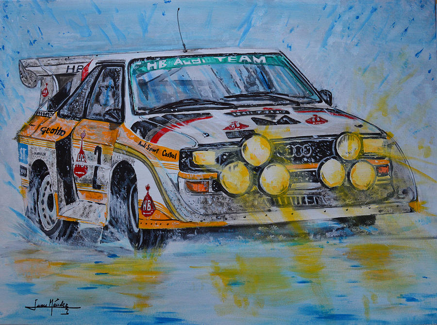 Rally Painting - Audi Quattro On The Rocks by Juan Mendez