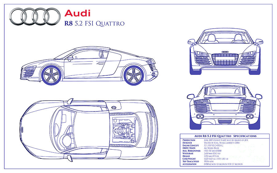 Audi R8 Blueprint Photograph by Jon Neidert