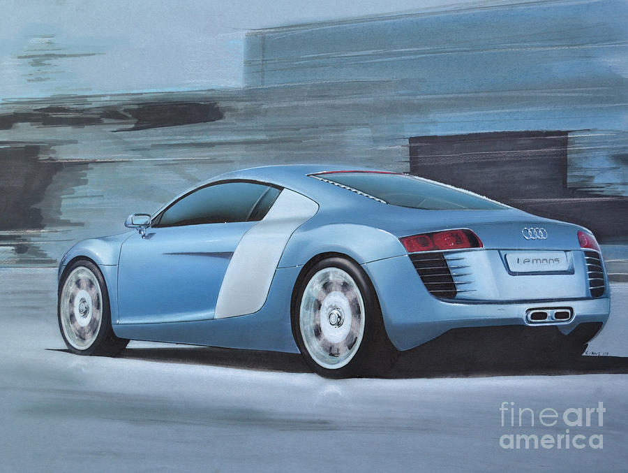 Le Mans Drawing - Audi R8 Lemans Concept by Paul Kuras