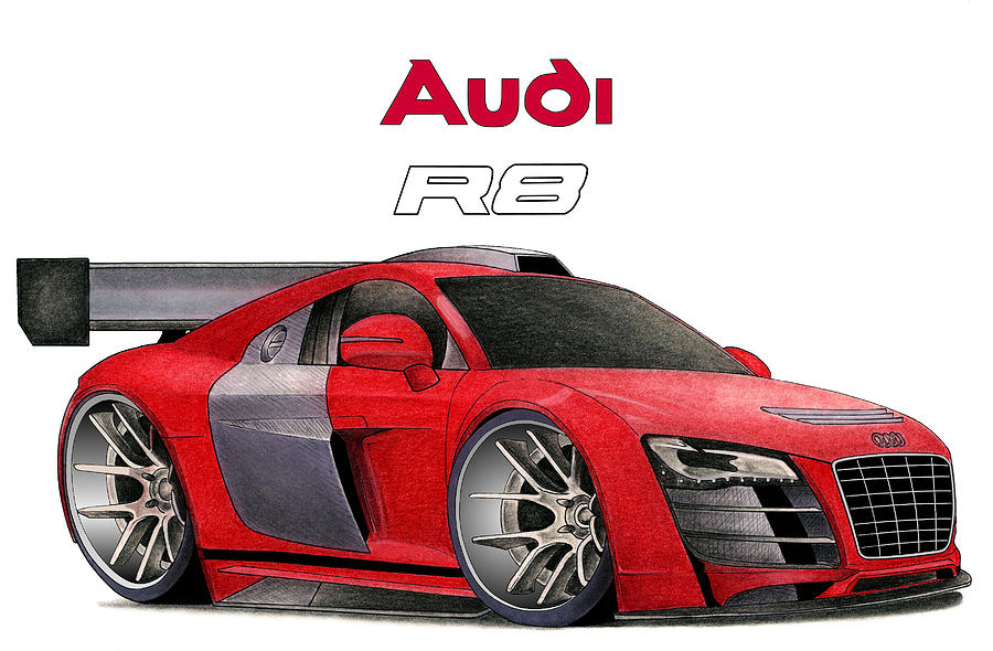Audi R8 Mixed Media - Audi Toon by Lyle Brown