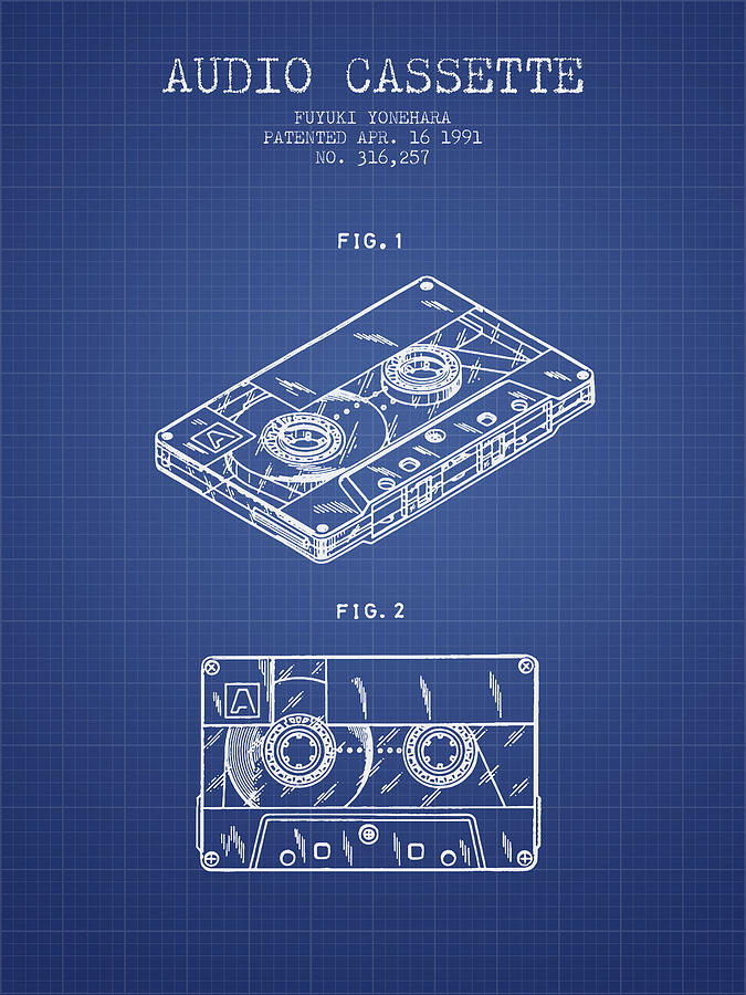 audio cassette patent from 1991 - blueprint digital art by aged pixel  pixels