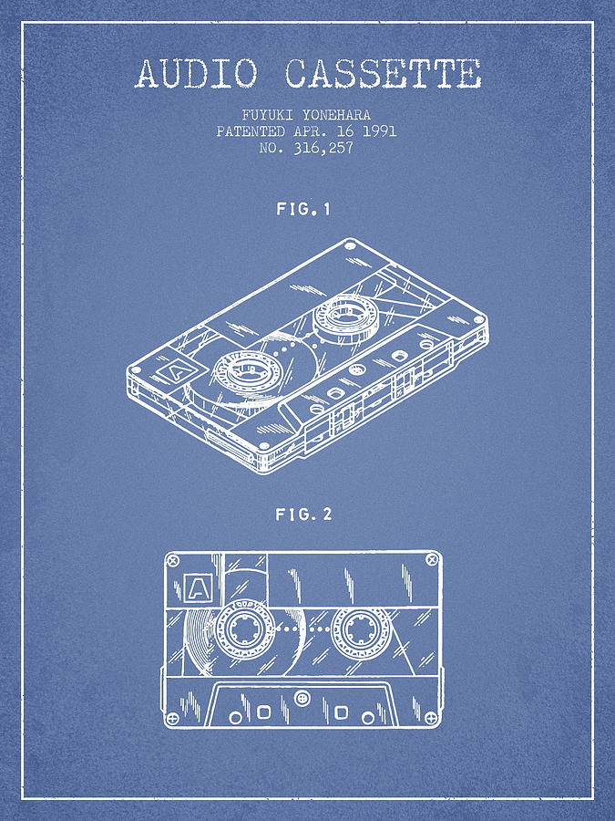 audio cassette patent from 1991 - light blue