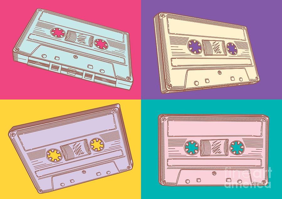 Symbol Digital Art - Audio Cassettes by Alex bond