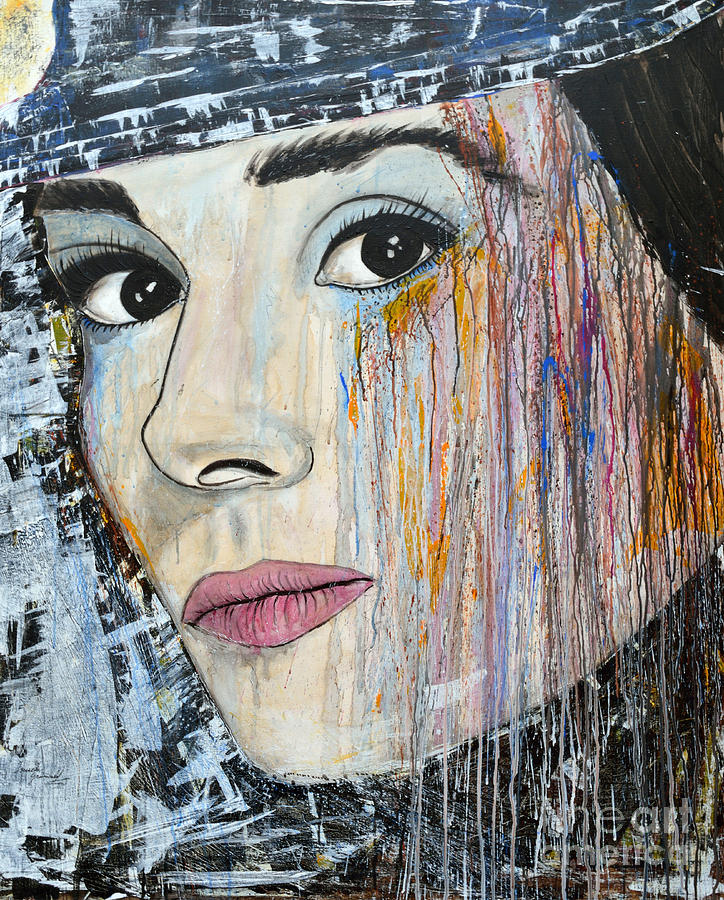Abstract Painting Painting - Audrey Hepburn-abstract by Ismeta Gruenwald