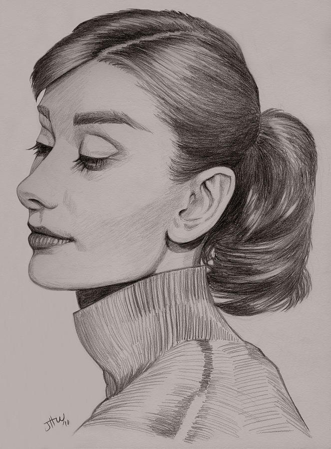 Audrey Hepburn Drawing - Audrey Hepburn by Jennifer Hotai